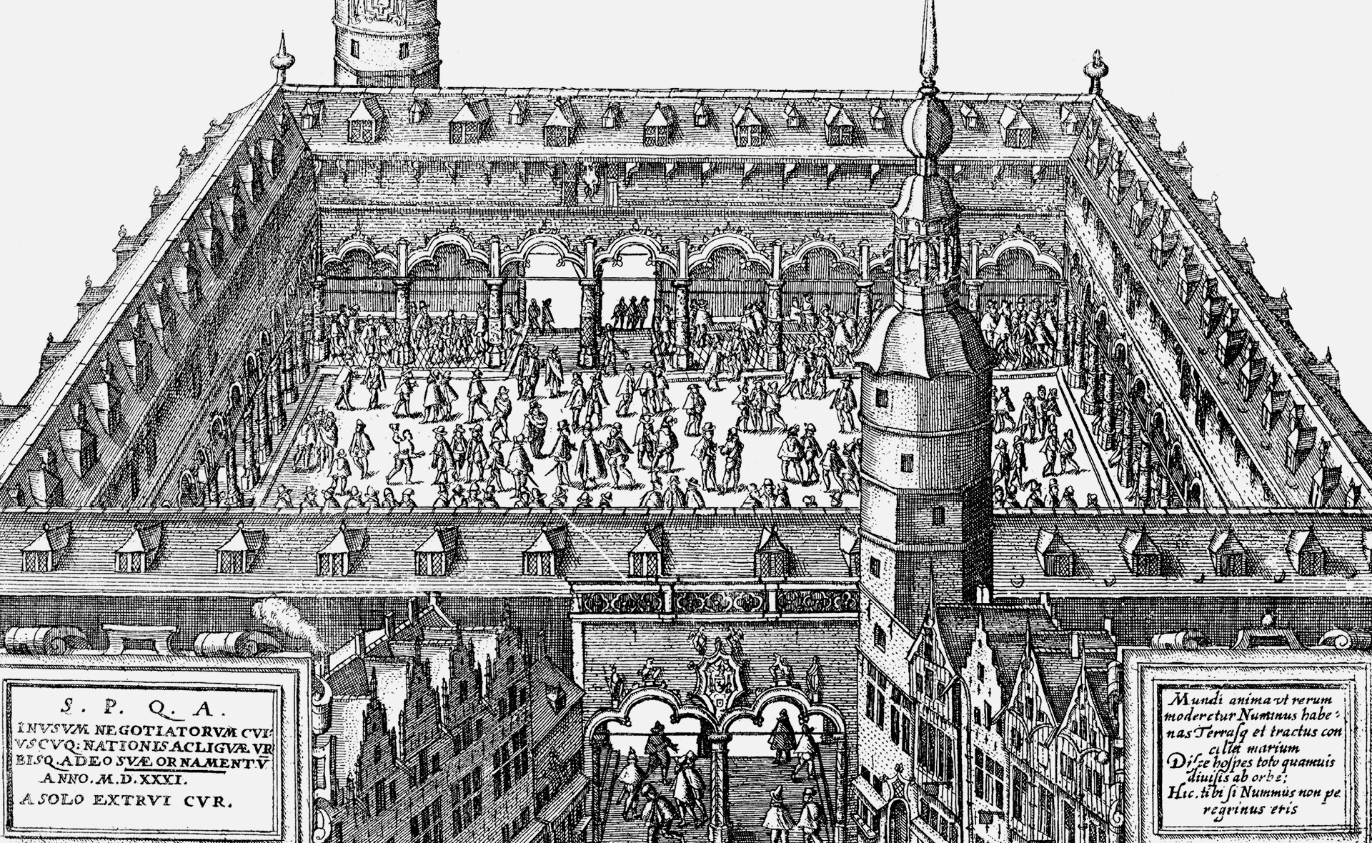 An illustration of the trade exchange in 16th century Antwerp, Belgium, which inspired Gresham to create The Royal Exchange