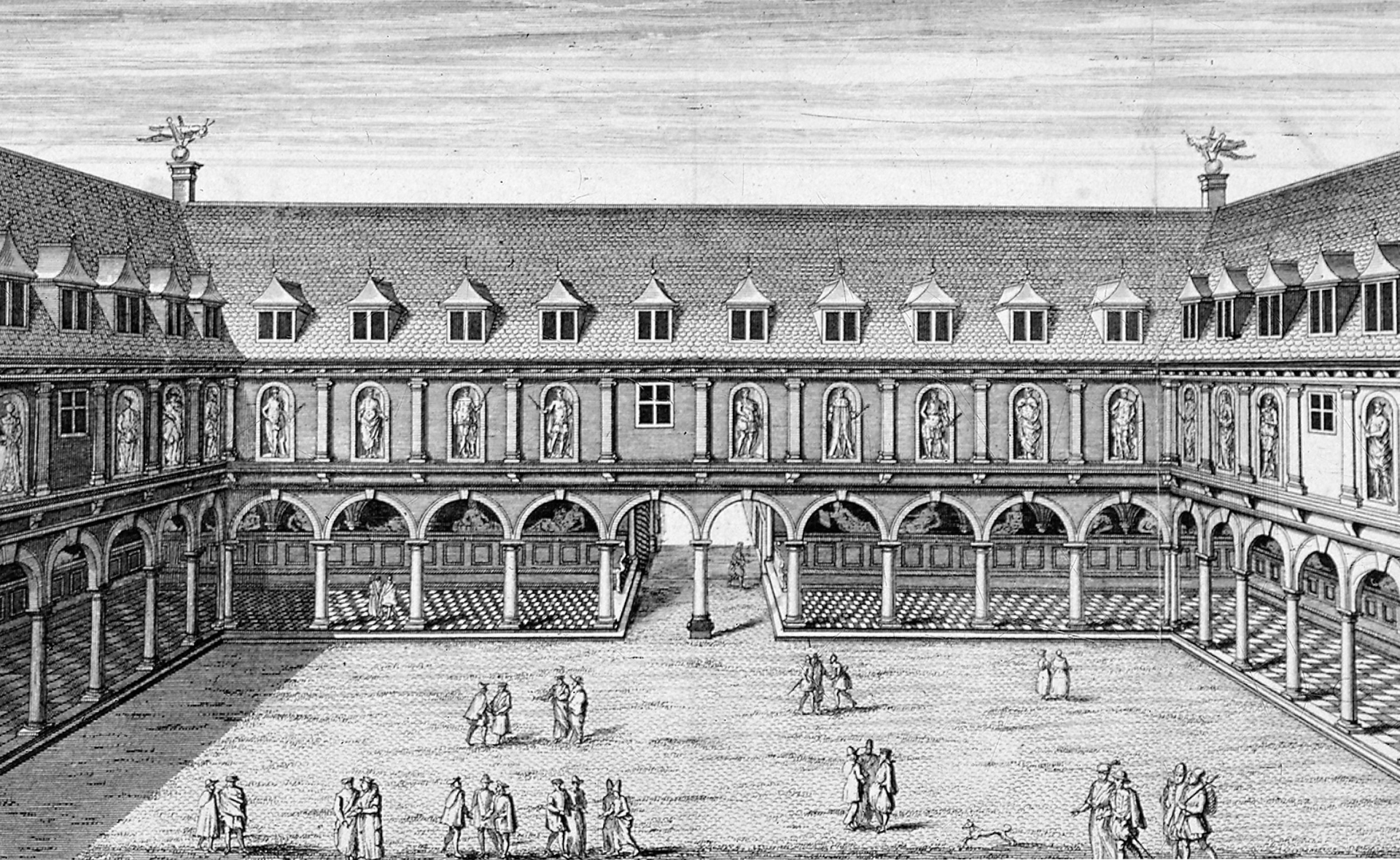 This illustration from c1660 depicts the two additional floors Gresham added to his original design for The Royal Exchange.