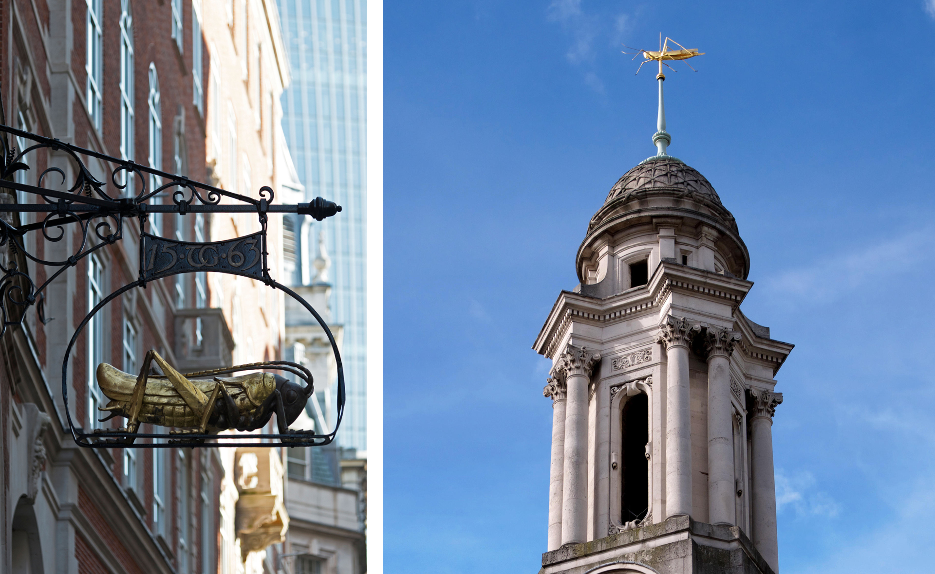 The Gresham grasshopper on Lombard Street (left) and atop The Royal Exchange (right)