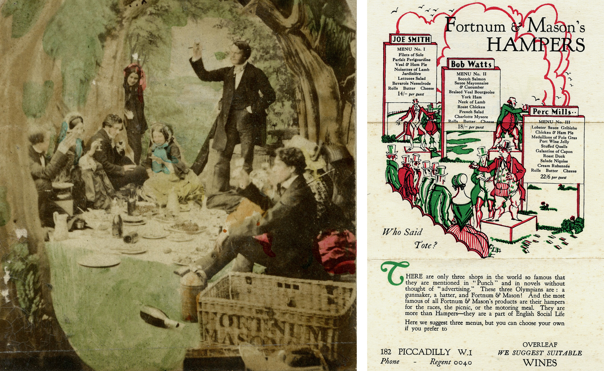 1866 illustration of a Victorian picnic with a Fortnum's hamper (left), archive image of a catalogue page about Fortnum's hampers from 1931 (right)