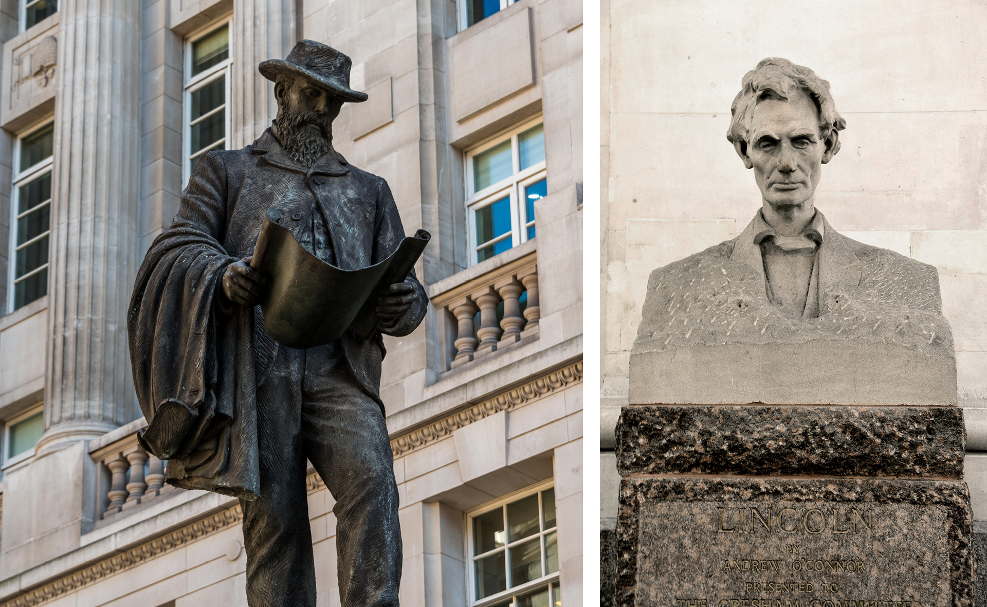 Statues of James Henry Greathead and Abraham Lincoln at The Royal Exchange