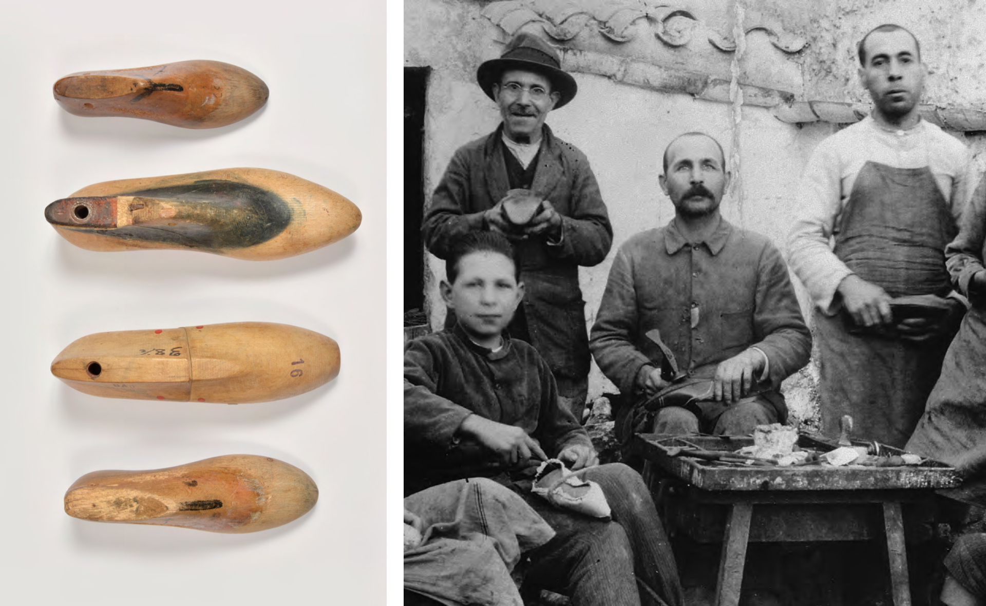 Original lasts from Mascaró, 1918; Pedro Mascaró and his team of shoemakers
